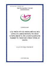 Luận văn Các nhân tố tác động đến sự hài lòng của khách hàng về chất lượng dịch vụ mua sắm tại doanh nghiệp tư nhân duy phát tỉnh An Giang
