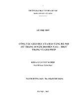 Luận văn Công tác giáo dục của bảo tàng Hà nội (từ tháng 10 năm 2010 đến nay) – thực trạng và giải pháp