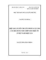 Luận văn Hiệu quả tuyên truyền pháp luật cho cán bộ, đảng viên trên báo điện tử tại Việt Nam hiện nay