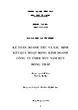 Luận văn Kế toán doanh thu và xác định kết quả hoạt động kinh doanh công ty TNHH MTV Nam huy Đồng Tháp