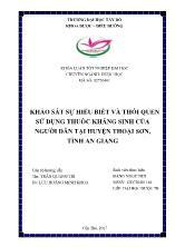 Luận văn Khảo sát sự hiểu biết và thói quen sử dụng thuốc kháng sinh của người dân tại huyện Thoại sơn, tỉnh An Giang