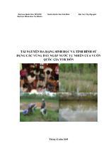 Luận văn Tài nguyên đa dạng sinh học và tình hình sử dụng các vùng đất ngập nước tự nhiên của vườn quốc gia Yok Đôn