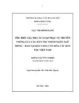 Luận văn Tìm hiểu giá trị các loại nhạc cụ truyền thống của các dân tộc nhóm ngôn ngữ Mông – Dao tại bảo tàng văn hóa các dân tộc Việt Nam