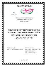Thẩm định quy trình định lượng paracetamol 650mg phóng thích kéo dài bằng phương pháp quang phổ uv - Vis