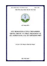 Xác định hàm lượng crinamidin trong thuốc và thực phẩm bảo vệ sức khỏe bằng sắc ký khí khối phổ