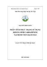 Luận văn Phân tích thực trạng sử dụng kháng sinh Carbapenem tại Bệnh viện Bạch Mai